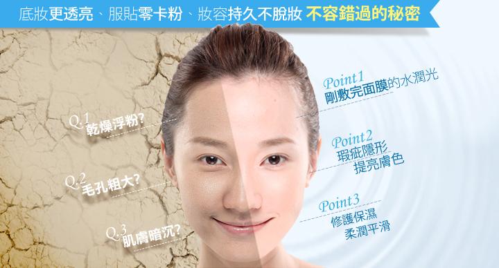 水膜力妝前保濕凝露使用前後
