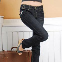 8117彩色袖线纽扣牛仔裤 xl
